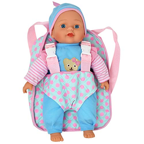 "13"" Soft Baby Doll with Take Along Pink Doll Backpack Carrier, Briefcase Pocket Fits Doll Accessories and Clothing"