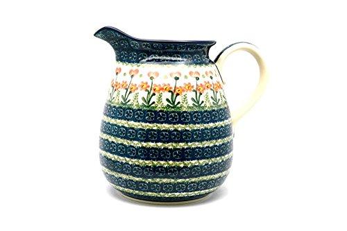 Polish Pottery Pitcher - 2 quart - Peach Spring Daisy
