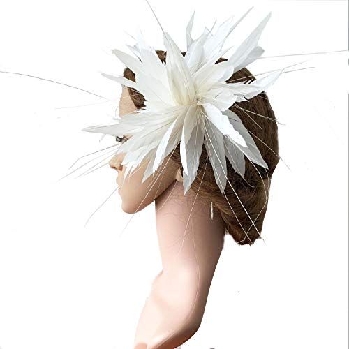 Cream Color Goose Feather Trim Feather Flower Wired Mount Headwear Flower for Fascinator Headwear Millinery ()