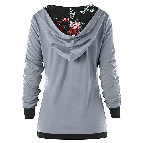 Manches Longues Manches Femme Tops Shirt pour Sweat Chemise Longues Gris Capuche Chic Pull Sweats Femmes SICtgq