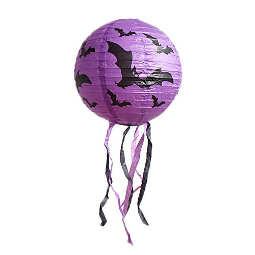 CZYCO Round Paper Lanterns with Wire Ribbing,Halloween Pumpkin Cage DIY with Ghost Light Skull Head Paper Lantern (Purple) ()