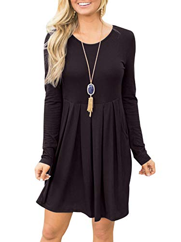 Fanfly Women Long Sleeve Pleated Loose Swing Casual T Shirt Dress with Pockets Knee Length Coffee