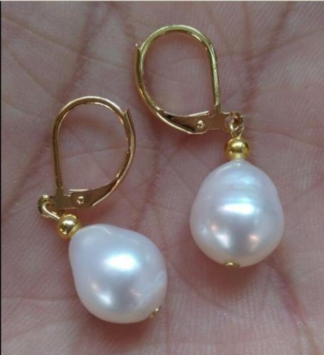 Gozebra(TM) HOT HUGE AAA 11-13mm natural white south sea pearl earring 14k GP