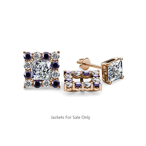 Iolite and Diamond (SI2-I1, G-H) Halo Jacket for Princess Cut Stud Earrings 0.72 ct tw 14K Rose Gold