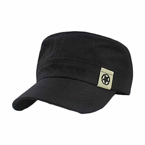 CSSD Fashion Flat Roof Military Solid Color Hat Outdoor Baseball Visor Caps (Black)
