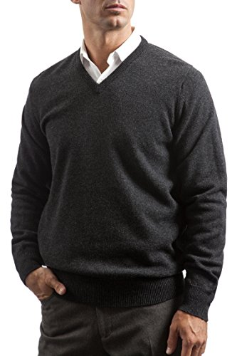 Mens Lambswool Sweater (Men's 100% Lambswool Plain V Neck Sweater. Made In Scotland-Charcoal-Large)
