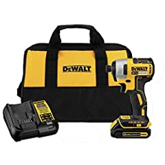 The DEWALT DCF787C1 20V MAX* Cordless Impact Driver Kit with Battery and Charger is powered by a 20V MAX battery. DEWALT 1/4-in impact driver's compact and light design allows the tool to be utilized in tight areas while LEDs provide visibili...