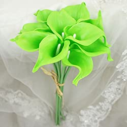 "Lily Garden Mini 15"" Artificial Calla Lily 10 Stem Flower Bouquets (Lime Green)"