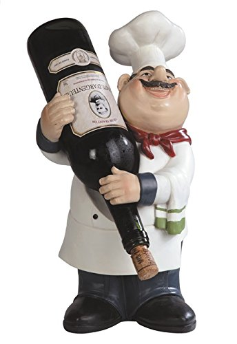 Major-Q G9065009 14'' High Resin French Chef Wine Champagne Bottle Holder Home Kitchen Bar Counter Desktop Accessory Decor Gift