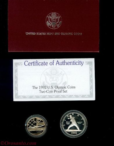 1992 Olympics 2 Coin Proof Silver Dollar & Clad Half