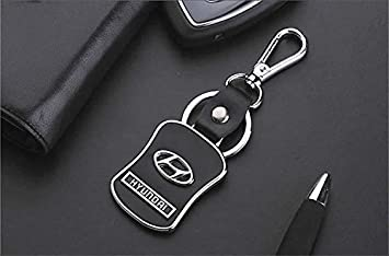 Hyundai Diseñador Cuero / metal llavero del coche con la ...
