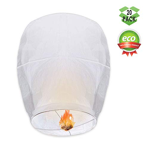 GOCHANGE Chinese Lanterns, 20 Pack Paper Lanterns - 100% Biodegradable, Eco-Friendly, Japaneses Lanterns for Weddings, Celebrations, Memorial Ceremonies, White Lanterns