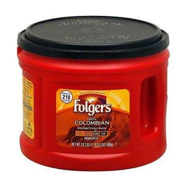 Folgers Columbian Medium Dark Roast Ground Coffee, 24.2 Ounce (Pack of 10) by Folgers