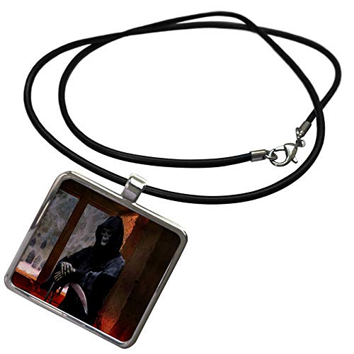 3dRose Sandy Mertens Halloween Designs - Grim Reaper the Spirit of Death is Waiting Inside, 3drsmm - Necklace With Rectangle Pendant (ncl_290222_1)