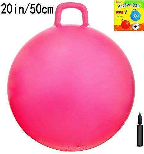 Space Hopper Ball with Air Pump: 20in/50cm Diameter for Ages 7-9, Hop Ball, Kangaroo Bouncer, Hoppity Hop, Jumping Ball, Sit & (Apple Ball)