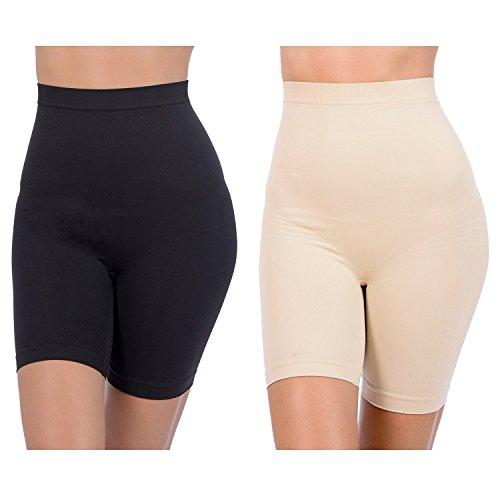 Patricia Lingerie Women's Anti-Bacterial Fabric Hi-Waist Shapewear Shorts 2 Pack (Black/Nude, 2XL)