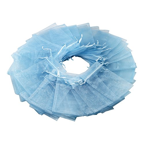 100Pcs 4x6 Inches Sheer Drawstring Organza Jewelry Pouches Wedding Party Christmas Favor Gift Bags (Sky Blue)