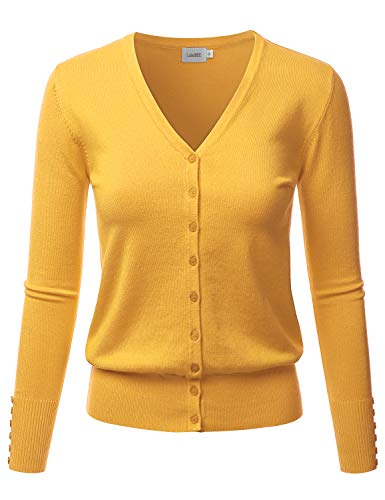 LALABEE Women's V-Neck Long Sleeve Button Down Sweater Cardigan Soft Knit-Yellow_B-XL