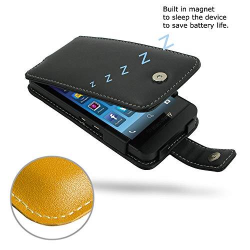 (PDair Handmade Leather Flip Case for BlackBerry Z10 (Golden Palm))