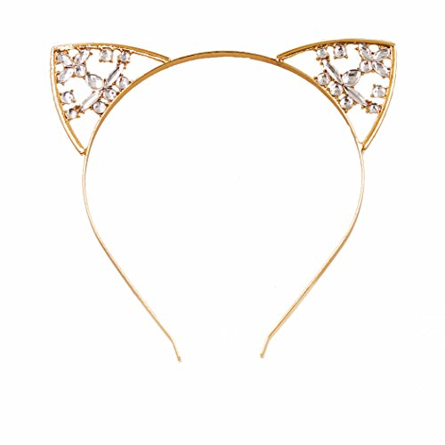 VK Accessories Floral Flower Cat Ear Crystal Hair Band Gold Sexy Women's Hair Clips Gold (Couples Cosplay Costumes)