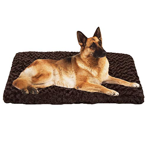 Auboa Deluxe Cat Dog Bed - Plush Pet Beds Ideal for Crate Kennel Cage House for Extra Large Dogs - Durable & Washable Cushion Mattress (DarkCoffee-3XL) (Plush Crate Mat)