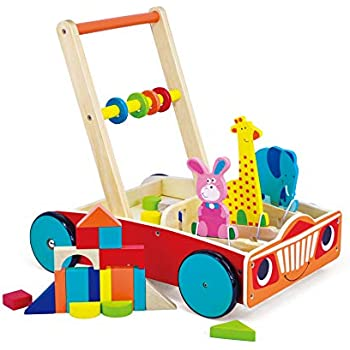 May & Z Wooden Walker, Baby Learning Walker Wagon and Push Cart with Educational Toys of Building Blocks, Spinning Beads and Animals Blocks for Infants Over ...