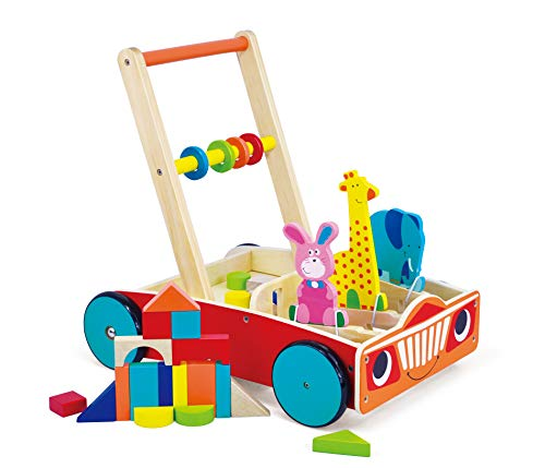 May & Z Wooden Walker, Baby Learning Walker Wagon and Push Cart with Educational Toys of Building Blocks, Spinning Beads and Animals Blocks for Infants Over 6 Months ()