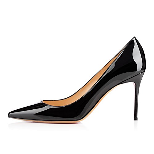 Classique EDEFS Femme Mariage Noir Mode Verni En Talon Chaussures Soiree Cuir Aiguille Escarpins PU fRgfqS