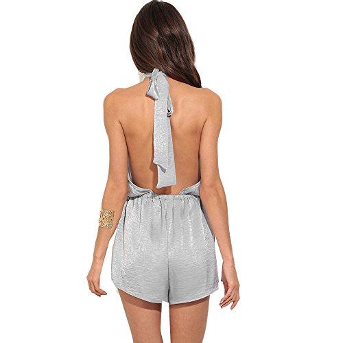 Ularma Sólido mono verano vestido sin espalda de las mujeres gris
