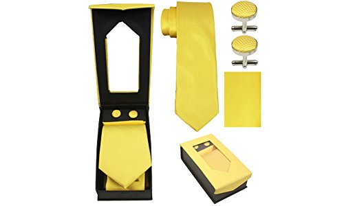 Designer Necktie, Cufflink, Handkerchief Set - Classy Solid, Striped, Dot Patterns (Yellow) - Pattern Necktie Cufflinks