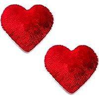 Taddy Bear yashika toys BEATLESS Hearts Microfiber Heart Shape Pillow (Red) - Set of 2