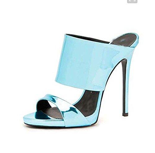 Moda sandalias de tacón alto color puro Roma moda sandalias de tacón alto de la fregona fresca Sky Blue