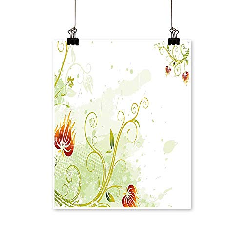 Artwork for Office DecorationsPetals Lines on Background Retro Scroll Botany Design Light Green Pistachio Ruby Canvas Living Room,24