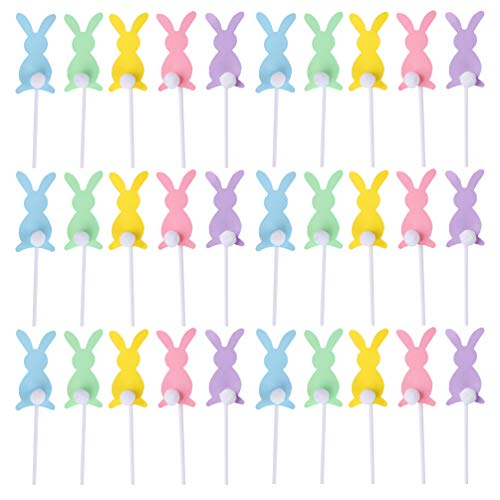 Easter Decorations Assorted Bunny Cupcake Toppers, 30ct
