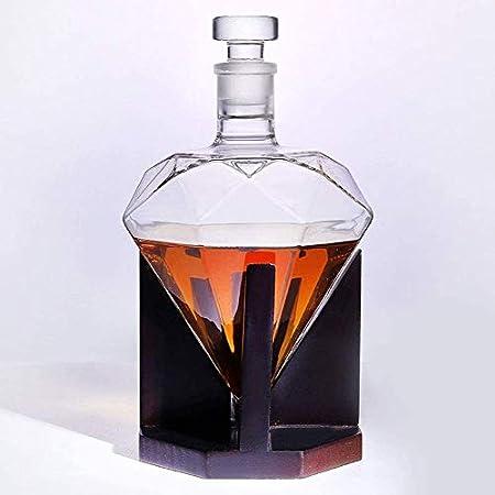 WJJ Botella de Whisky Cristal Diamond Decanter Whisky Decanter Set Diamond CARAFE Incluyendo El Stand De Decanter Whiskey Set Decanter Giftset Gift Gift Gift Set Set Novedad Wine Barware CARAFE BEBIDA