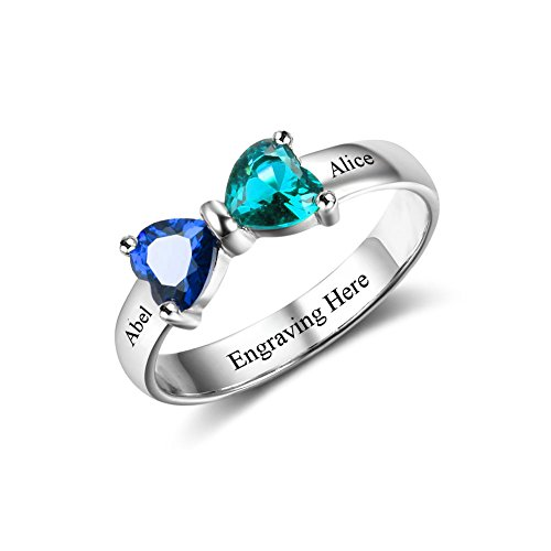Custom Finger Ring Two (Ouslier 925 Sterling Silver Personalized Double Heart Birthstone Promise Name Ring Custom Made with 2 Names (Silver))