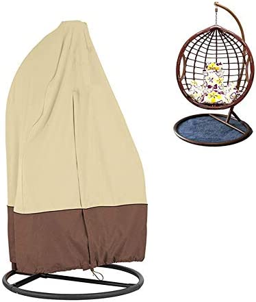 KIKIGOAL Outdoor Patio Hanging Chair Cover Wicker Egg Swing Chair Covers Heavy Duty Water Resistant 190115cm 75 45 LxW , Beige Coffee