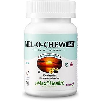 Maxi Health Mel-O-Chew - Chewable Melatonin - Sleep Aid - 1 Mg - Berry Flavor - 100 Chewies - Kosher