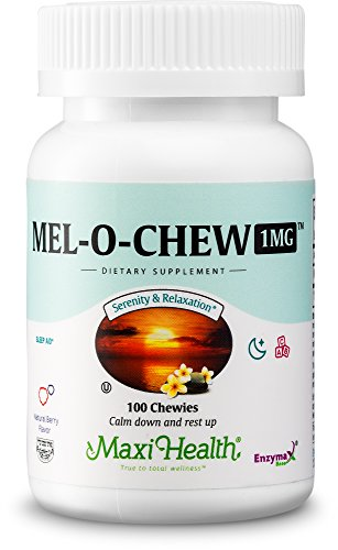 Maxi Health Mel-O-Chew - Chewable Melatonin - Sleep Aid - 1 Mg - Berry Flavor - 100 Chewies - Kosher