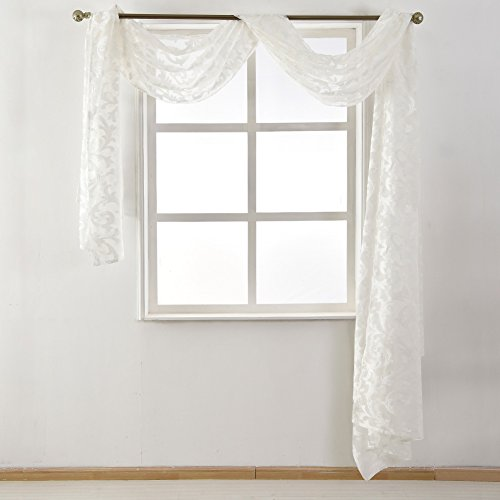 NAPEARL European Style Jacquard Sheer Curtain Panel Organza Fabric, Window Scarf, Beaded Valance, Sold Separately (1 Scarf 54
