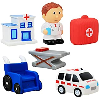 Click N' Play 6 Piece Hospital and Ambulance Play Set For Kids, Soft Touch Vinyl Figurine Bath Toy.
