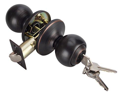 Lock for Exterior Door,Oil Rubbed Bronze Door Knobs, Ball Style Keyed Entry Door Knob Lock with Keys Oil Rubbed Bronze Finish,Oil Rubbed Bronze Finish Entry,5763-ORB-ET