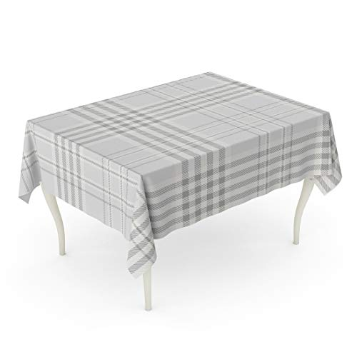 Emvency Rectangle Tablecloth 60 x 84 Inch Beige Abstract Plaid Printing Pattern Check in Pale Grey Slate and Off White Ivory Gray Border Checker Table ()