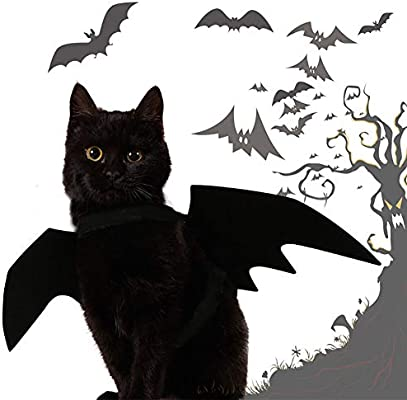 1PC Mascotas murciélago alas para Perros Gatos Mascota Divertido Traje de murciélago alas Mascotas Halloween Disfraces alas (Negro)