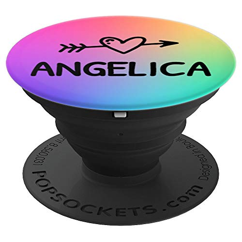 Angelica Gift Rainbow Watercolor Black Heart Arrow Angelica - PopSockets Grip and Stand for Phones and ()
