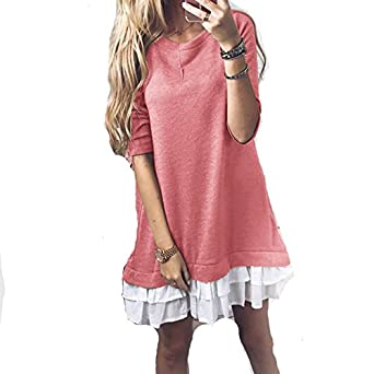 Stevenurr Fashion Spring Plus Size Women A-Line Dresses Ruffles Kawaii Dress Long Sleeve Mini