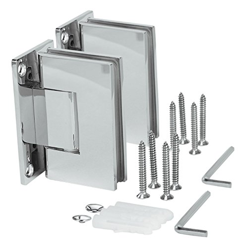 SUNNY SHOWER SH-CH 1 Pair (2 Hinges) Frameless Pivot Shower Door Hinge, 90 Degree Wall-to-Glass, Stainless Steel Polished, ()