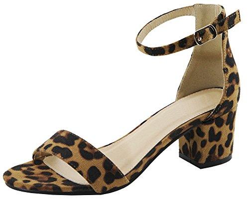 Cambridge Select Women's Open Toe Single Band Buckled Ankle Strap Chunky Block Mid Heel Sandal (7 B(M) US, Leopard IMSU) -