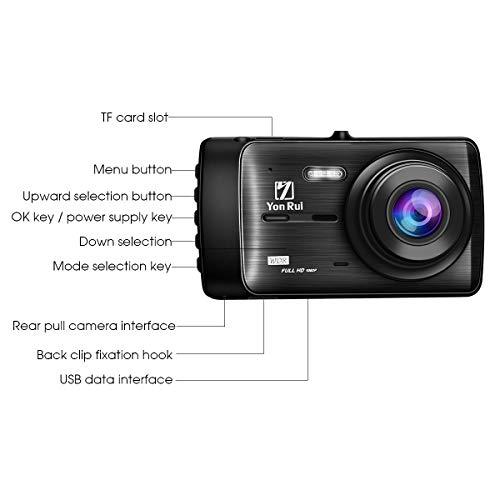 G-Sensor Loop Recording Motion Detection YonRui Dash Cam Front and Rear Dash Camera FHD 4 1080P IPS Screen Driving Video Recorder WDR Parking Monitor