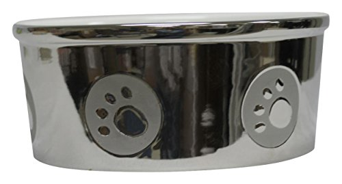 Ethical Pet Products (Spot) DSO6829 Stoneware Paw Print Dog Dish, 7-Inch, Titanium